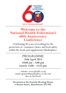 The NHF 60th Anniversary Conference Programme